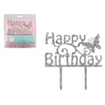 Tortni topper Happy Birthday 15x8,5 cm